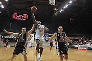 NBL Basketball 2002<br />Nelson Giants v Wellington Saints at Queens Wharf Event Centre in Wellington, 20/4/02<br />Tyrone Brown lays up a shot<br /><br />Pic: Sandra Teddy/Photosport<br />*digital image*