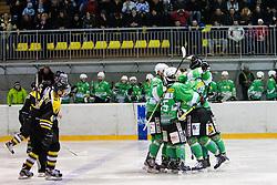 Playes of EHC Bregenzerwald celebrate after scoring a goal during 5th game of final INL league ice hockey match between HK Playboy Slavija and EHC Bregenwald at Dvorana Zalog, on April 3, 2013, in Ljubljana, Slovenia. (Photo by Matic Klansek Velej / Sportida)