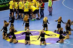 Cheerleaders during the handball match between RK Celje Pivovarna Lasko (SLO) and TWH Kiel (GER) in 4th Round of Velux EHF Men's Champions League, on October 17, 2010 in Arena Zlatorog, Celje, Slovenia.  (Photo By Vid Ponikvar / Sportida.com)