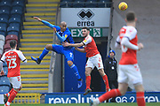 Calvin Andrew wins a header during the EFL Sky Bet League 1 match between Rochdale and Fleetwood Town at Spotland, Rochdale, England on 19 January 2019.