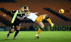 Kjell Knops of Port Vale is put under pressure by James Vaughan of Bury - Mandatory by-line: Robbie Stephenson/JMP - 20/01/2017 - FOOTBALL - Vale Park - Stoke-on-Trent, England - Port Vale v Bury - Sky Bet League One