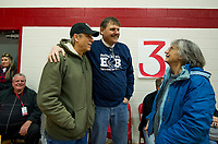 "Phil and Chick Maroni with Bob Dassatti watch from the sidelines as the first round of games begin during the ""Ballin' for Bob"" Tournament for Hope fundraiser held Saturday at Laconia High School.   (Karen Bobotas/for the Laconia Daily Sun)"