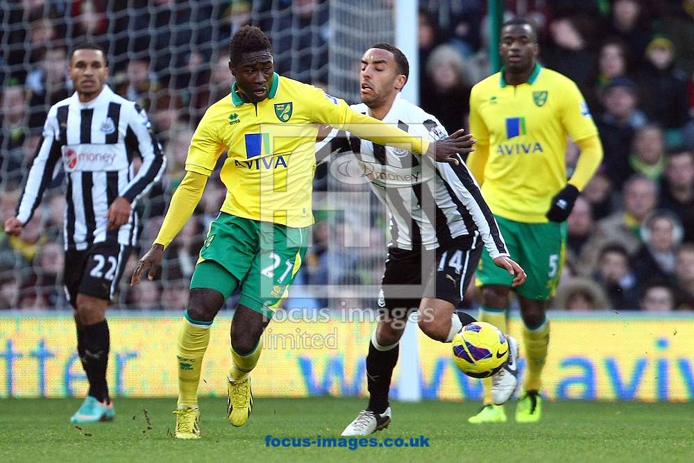 Picture by Paul Chesterton/Focus Images Ltd +44 7904 640267.12/01/2013.Alexander Tettey of Norwich and James Perch of Newcastle in action during the Barclays Premier League match at Carrow Road, Norwich.