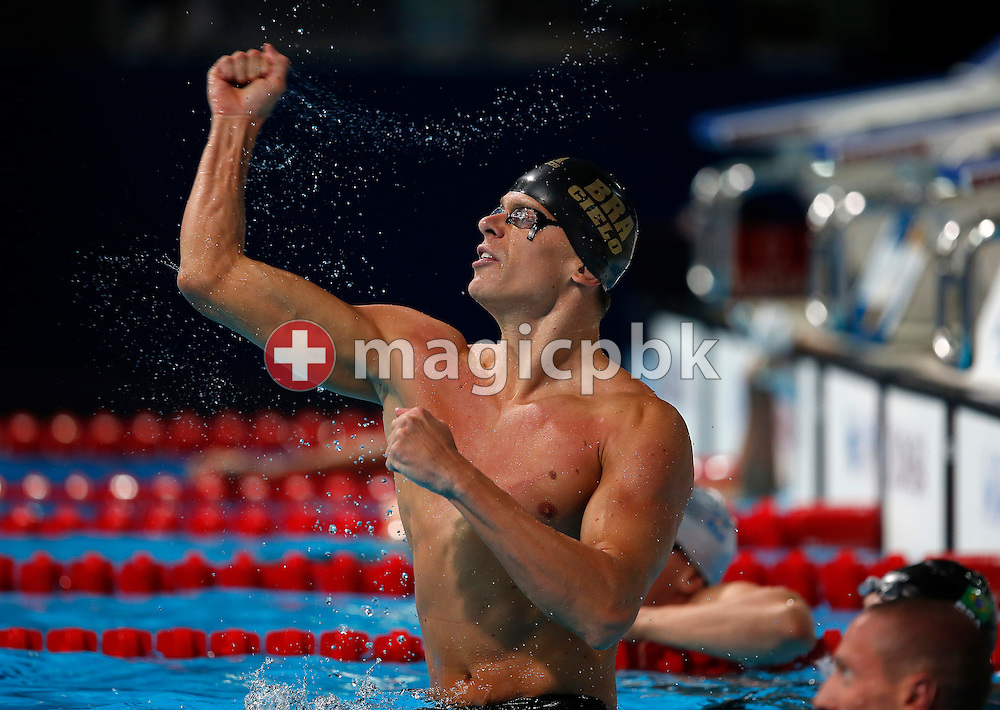 Cesar Cielo Filho of Brazil jubilates after winning the men's 50m Butterfly Final during the 15th FINA World Aquatics Championships at the Palau Sant Jordi in Barcelona, Spain, Monday, July 29, 2013. (Photo by Patrick B. Kraemer / MAGICPBK)