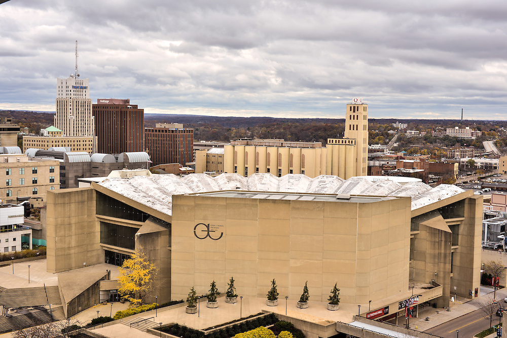 Exterior view of EJ Thomas Hall at The University of Akron, with downtown in the distance.