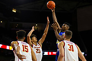 South Dakota State Jackrabbits forward Douglas Wilson (35) shoots the ball in the first half against the Southern California Trojans during an NCAA basketball game, Tuesday, Nov. 12, 2019, in Los Angeles. USC defeated South Dakota State 84-66. (Brandon Sloter/Image of Sport)