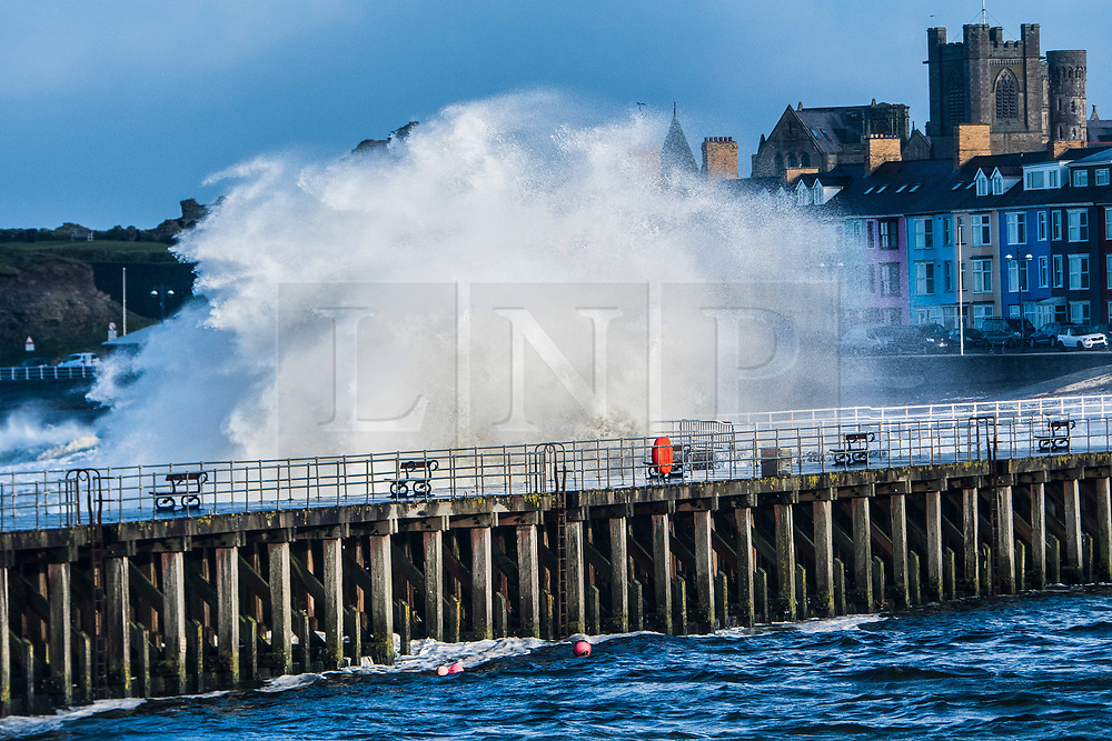 © Licensed to London News Pictures. 07/02/2019. Aberystwyth, UK. Waves batter the sea defences at Aberystwyth on the Cardigan Bay coats of West Wales at high tide this morning. A yellow Met Office warning for wind has been covering most of the UK issued for tomorrow until Saturday, with the likelihood of travel disruption .<br /> photo credit: Keith Morris/LNP
