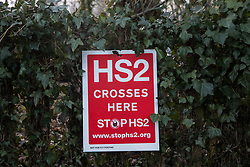 Wendover, UK. 10 January, 2020. A sign outside the newly-established Wendover Active Resistance Camp. Stop HS2 activists from around the UK established the camp in woodland outside Wendover on the proposed route for HS2 through the Chilterns AONB in response to requests for assistance from members of the local community opposed to the high speed rail link. The impact on the immediate area is expected to be even worse than initially expected, with not only two 500m viaducts and a 1km embankment to be constructed but also a Bentonite factory and 240-bed accommodation block.