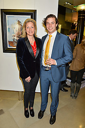 EDWINA HAYNES and her son HECTOR HAYNES at a private view of work by Christian Hook in aid of Children in Crisis held at Clarendon Fine Art, 46 Dover Street, London on 17th March 2016.
