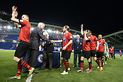 Eastbourne Borough players receive medals  during the Sussex Senior Cup Final match between Eastbourne Borough and Worthing FC at the American Express Community Stadium, Brighton and Hove, England on 20 May 2016.