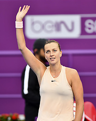 DOHA, Feb. 14, 2018  Petra Kvitova of Czech Republic celebrates after winning the single's second round match against Agnieszka Radwanska of Poland at the 2018 WTA Qatar Open in Doha, Qatar, on Feb. 14, 2018. Petra Kvitova won 2-1.   wll) (Credit Image: © Nikku/Xinhua via ZUMA Wire)
