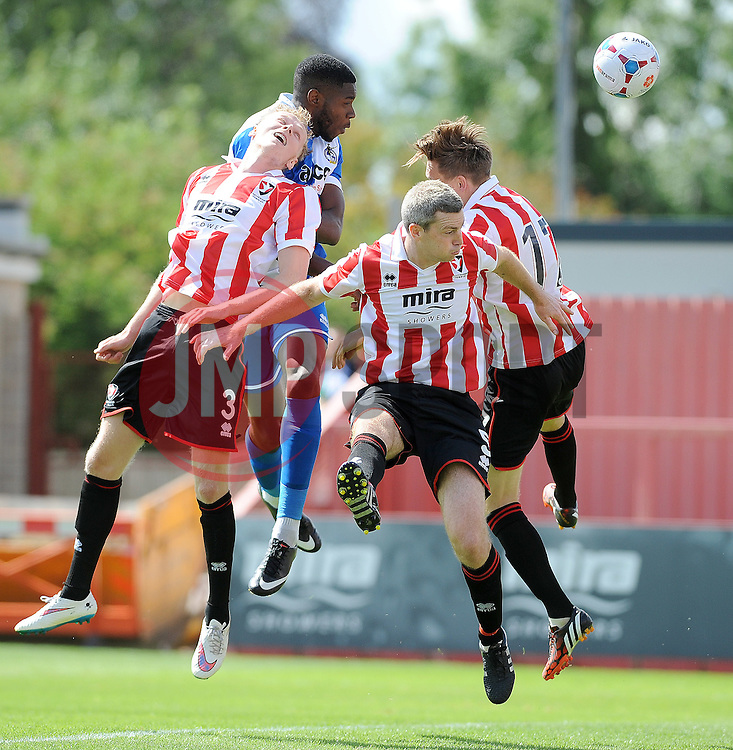 Nathan Blissett of Bristol Rovers goes close with a header - Mandatory by-line: Neil Brookman/JMP - 25/07/2015 - SPORT - FOOTBALL - Cheltenham Town,England - Whaddon Road - Cheltenham Town v Bristol Rovers - Pre-Season Friendly