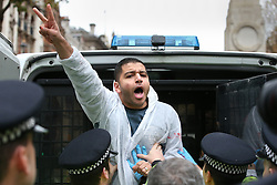 © Licensed to London News Pictures. 05/11/2015. London, UK. A man gestures as he taken away by police as protests are held near Downing Street during the visit of Egyptian President Sisi. Photo credit: Peter Macdiarmid/LNP