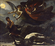 Justice and Divine Vengeance Pursuing Crime', 1808. Oil on canvas. Pierre Paul Prud'hon (1758-1823) French Romantic painter. Winged allegorical figures following murderer of figure on ground. Moonlight Nude Male