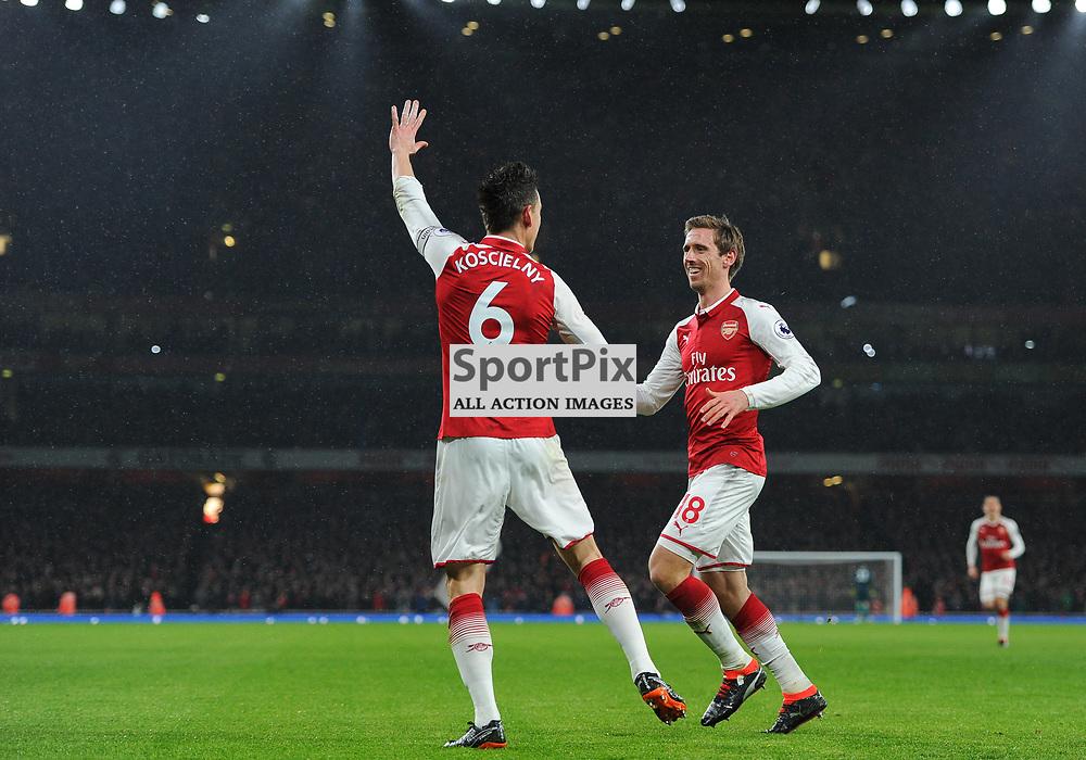 Laurent Koscielny of Arsenal celebrates after scoring his sides second goal during Arsenal vs Everton, Premier League, 03.02.18 (c) Harriet Lander   SportPix.org.uk
