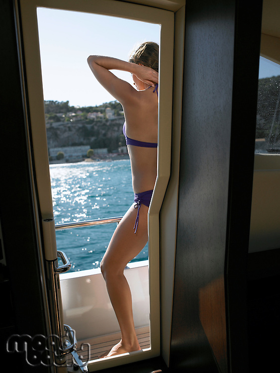 Back View of Woman on Yacht