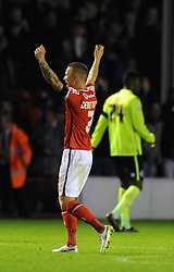 Jason Demetriou of Walsall celebrates on the full time whistle as his side beat Brighton 2-1 in the Capital One Cup - Mandatory byline: Dougie Allward/JMP - 07966386802 - 25/08/2015 - FOOTBALL - Bescot Stadium -Walsall,England - Walsall v Brighton - Capital One Cup - Second Round
