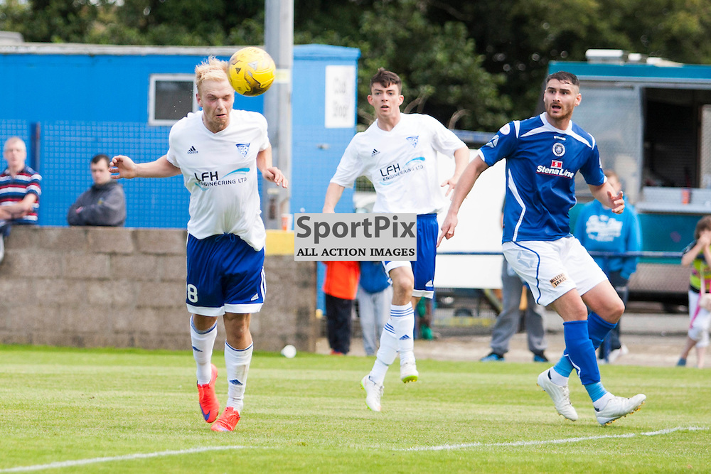 Jordan Brown (Peterhead 18) scores with this header in the Stranraer v Peterhead Ladbrokes SPFL Scottish Division 1 at Stair Park in Stranraer 15 August 2015<br /><br />&copy; Russell Gray Sneddon / StockPix.eu
