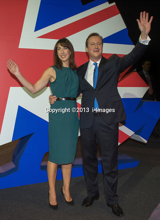David Cameron Keynote Speech. <br /> Prime Minister David Cameron and his wife Samantha Cameron leaving the hall after his keynote speech to the Conservative Party Conference, Manchester, United Kingdom. Wednesday, 2nd October 2013. Picture by i-Images