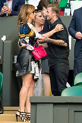 © Licensed to London News Pictures. FILE PICTURE. 06/07/2016. MIKA FEDERER and DAVID BECKHAM watch tennis on the centre court on the tenth day of the WIMBLEDON Lawn Tennis Championships. Bookmakers have suspended bets on the celebrity Beckham couple getting a divorce  Photo credit: Ray Tang/LNP