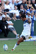 Stephen Brett of The Blues during the Super15 match between The Mr Price Sharks and The Blues held at Mr Price Kings Park Stadium in Durban on the 26th February 2011..Photo By:  Ron Gaunt/SPORTZPICS