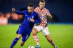 Ivan Perisic of Croatia and Andreas Samaris of Greece during the football match between National teams of Croatia and Greece in First leg of Playoff Round of European Qualifiers for the FIFA World Cup Russia 2018, on November 9, 2017 in Stadion Maksimir, Zagreb, Croatia. Photo by Ziga Zupan / Sportida