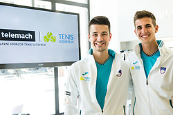 Mike Urbanija and Tilen Zitnik during press conference of Slovenian National Men Tennis Team before Davis Cup against South Africa Republic, on March 30, 2017 in Ljubljana, Slovenia. Photo by Vid Ponikvar / Sportida