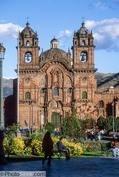 Church of La Compania is built on Inca stone foundations in Plaza de Armas, the central square of Cuzco (Cusco or Qosqo), in Peru, South America. Cuzco was the site of the historic capital of the Inca Empire from the 1200s to 1532 and was honored on the World Heritage List in 1983 by UNESCO. Francisco Pizarro officially founded Spanish Cuzco in 1534. Cuzco is the longest continuously occupied city in the Americas and is built upon the foundations of the Incas at 3400 meters or 11,200 feet elevation.