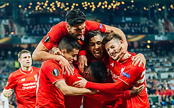 18.05.2016, St. Jakob Park, Basel, SUI, UEFA EL, FC Liverpool vs Sevilla FC, Finale, im Bild Torjubel Liverpool nach dem 1:0 durch Daniel Sturridge (FC Liverpool), Coutinho (FC Liverpool), Emre Can (FC Liverpool), Roberto Firmino (FC Liverpool), Adam Lallana (FC Liverpool) // Goal Celebration after Daniel Sturridge (FC Liverpool) scores the opening Goal with Coutinho (FC Liverpool) Emre Can (FC Liverpool) Roberto Firmino (FC Liverpool) Adam Lallana (FC Liverpool) during the Final Match of the UEFA Europaleague between FC Liverpool and Sevilla FC at the St. Jakob Park in Basel, Switzerland on 2016/05/18. EXPA Pictures © 2016, PhotoCredit: EXPA/ JFK
