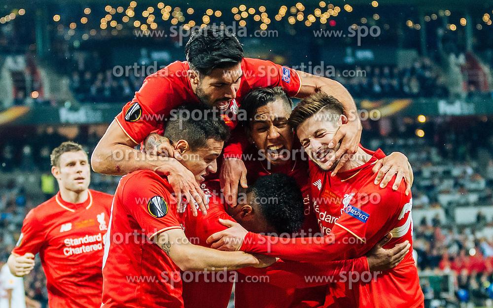 18.05.2016, St. Jakob Park, Basel, SUI, UEFA EL, FC Liverpool vs Sevilla FC, Finale, im Bild Torjubel Liverpool nach dem 1:0 durch Daniel Sturridge (FC Liverpool), Coutinho (FC Liverpool), Emre Can (FC Liverpool), Roberto Firmino (FC Liverpool), Adam Lallana (FC Liverpool) // Goal Celebration after Daniel Sturridge (FC Liverpool) scores the opening Goal with Coutinho (FC Liverpool) Emre Can (FC Liverpool) Roberto Firmino (FC Liverpool) Adam Lallana (FC Liverpool) during the Final Match of the UEFA Europaleague between FC Liverpool and Sevilla FC at the St. Jakob Park in Basel, Switzerland on 2016/05/18. EXPA Pictures © 2016, PhotoCredit: EXPA/ JFK