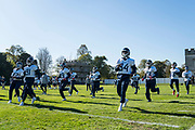 Tennessee Titans players warm up during the Tennessee Titans pre-match press conference at Syon House, Brentford, United Kingdom on 19 October 2018.