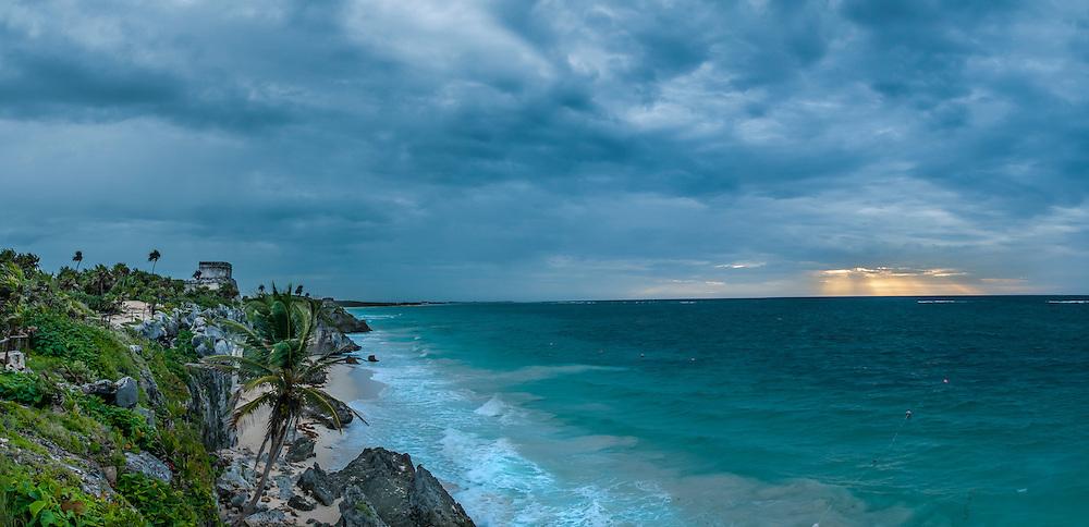 Tulum Maya ruins at sunrise on a stormy day; Yucatan Peninsula, Mexico.