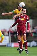 Bristol - Saturday November 7th, 2009: Darel Russell of Norwich City and Dan Cleverly of Paulton Rovers during the FA Cup 1st round match at Paulton. (Pic by Alex Broadway/Focus Images)..