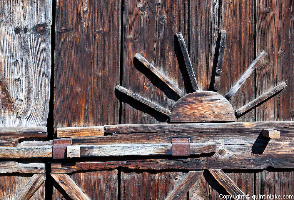 Door of Thatched wooden vernacular shed / stables from Surdesti, Maramures.  Built: c17. Dimitrie Gusti National Village Museum (Muzeul Satului) in Bucharest, Romania