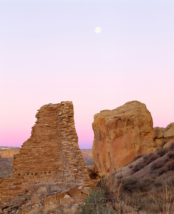 0204-1068 ~ Copyright: George H. H. Huey ~ Moonrise over Hungo Pavi, Anasazi culture 'great house' constructed @ A.D. 1000-1080. Chaco Culture National Historical Park, New Mexico.