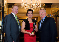 It's been a great year for TG4 news anchor Eimear Ní Chonaola having hosted the first ever Irish language leader's debate in February and now taking home three national media awards at the Oireachtas Media Awards with Gala. Liam Ó Maolaodha, Director of Oireachtas na Gaeilge and  Gary Desmond, CEO Gala Retail congratulated Eimear who scooped the Gala Gael Star of the Year award at the annual ceremony, which took place in the Meyrick Hotel in Galway last night (Friday 27th May), beating off competition from Daithí Ó Sé, Aoibhinn Ní Shúilleabháin and Síle Seoige. .The Gala Gael Star award was the only award to be voted for by the public.  Readers of Foinse and Gala shoppers have voted in their hundreds over the past six weeks, with Eimear receiving the most votes, closely followed by the other three finalists.   Photo:Andrew Downes
