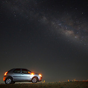 Car under the Milky Way, Western Ghats India.