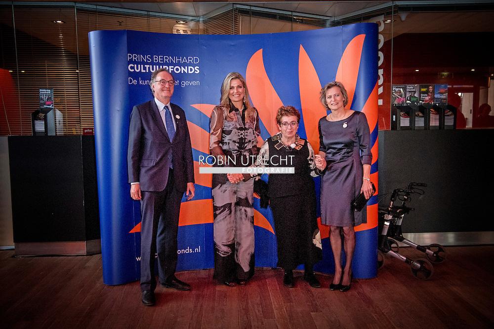 2-12-2016 AMSTERDAM - Queen Maxima issued Friday 2 December, the Prince Bernhard Culture Price from 2016 to documentarian Heddy Honigmann in Music aan 't IJ in Amsterdam. The Culture Fund knows this lifetime achievement award annually to a person or institution with a strong track record in the field of culture, nature and science in the Netherlands. The prize is subject to a sum of 150,000 euros. COPYRIGHT ROBIN UTRECHT<br /> <br /> 2-12-2016  AMSTERDAM - Koningin Maxima reikt vrijdagmiddag 2 december de Prins Bernhard Cultuurfonds Prijs 2016 uit aan documentairemaker Heddy Honigmann, in Muziekgebouw aan &rsquo;t IJ in Amsterdam. Het Cultuurfonds kent deze oeuvreprijs jaarlijks toe aan een persoon of instelling met een grote staat van dienst op het gebied van cultuur, natuur of wetenschap in Nederland. Aan de prijs is een bedrag van 150.000 euro verbonden. COPYRIGHT ROBIN UTRECHT