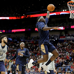 Oct 5, 2019; New Orleans, LA, USA; New Orleans Pelicans guard Jrue Holiday (11) shoots during a open practice at the Smoothie King Center. Mandatory Credit: Derick E. Hingle-USA TODAY Sports