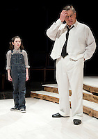 """Scout (Jaydie Becket Halperin) and her father Atticus Finch (Steven Raymond) during dress rehearsal for """"To Kill a Mockingbird"""" at the Winnipesaukee Playhouse Wednesday evening.  (Karen Bobotas/for the Laconia Daily Sun)"""