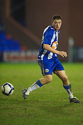 BIRKENHEAD, ENGLAND - Thursday, March 25, 2010: Wigan Athletic's Callum Morris in action against Liverpool during the FA Premiership Reserves League (Northern Division) match at Prenton Park. (Photo by David Rawcliffe/Propaganda)