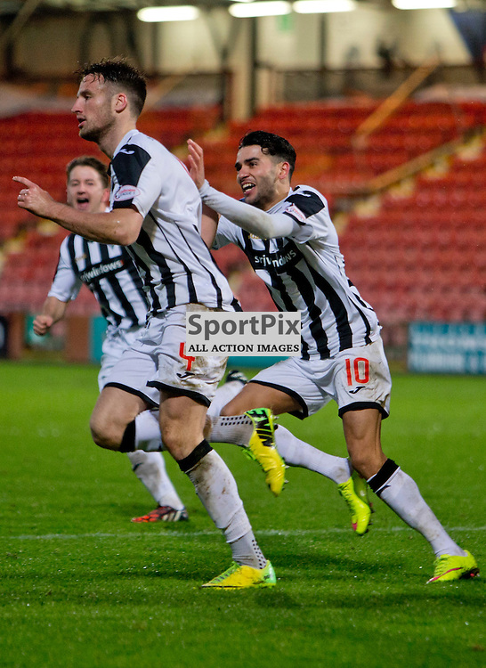 Dunfermline Athletic v Ross County Scottish Cup Season 2015/16 East End Park 09 December 2015<br /> Brad McKay celebrates his goal with Faissal El Bakhtaoui<br /> CRAIG BROWN | sportPix.org.uk