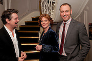 ALEX HANSON; SAMANTHA BOND; ELLIOT GOWAN, First night for 'An Ideal Husband' by Oscar Wilde ÐThe play opened at The Vaudeville Theatre with a party after  Kettners, Soho. 10 November 2010. . -DO NOT ARCHIVE-© Copyright Photograph by Dafydd Jones. 248 Clapham Rd. London SW9 0PZ. Tel 0207 820 0771. www.dafjones.com.<br /> ALEX HANSON; SAMANTHA BOND; ELLIOT GOWAN, First night for 'An Ideal Husband' by Oscar Wilde –The play opened at The Vaudeville Theatre with a party after  Kettners, Soho. 10 November 2010. . -DO NOT ARCHIVE-© Copyright Photograph by Dafydd Jones. 248 Clapham Rd. London SW9 0PZ. Tel 0207 820 0771. www.dafjones.com.