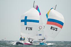 2012 Olympic Games London / Weymouth<br /> Match Race Final Day<br /> Petite Final<br /> Skudina Ekaterina, Oblova Elena, Syuzeva Elena, (RUS, Match Race)<br /> Kanerva Silja, Wulff Mikaela, Lehtinen Silja, (FIN, Match Race)<br /> Winner FIN 3 RUS 2<br /> Final<br /> Echegoyen Tamara, Toro Sofia, Pumariega Angela, (ESP, Match Race)<br /> Curtis Nina, Whitty Lucinda, Price Olivia, (AUS, Match Race) <br /> Winner ESP 3 AUS 2