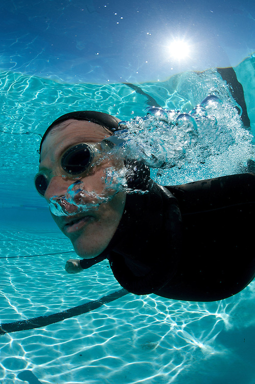 Champion Freediver Trevor Hutton training in pool.