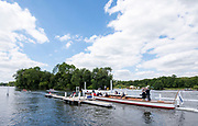 Henley on Thames, England, United Kingdom, 3rd July 2019, Berks Station, St Pauls School, Concord, USA, moving away from the start of their heat in the [PE], Princess Elizabeth Challenge Trophy, Henley Royal Regatta, Henley Reach, [© Peter SPURRIER/Intersport Image]<br />