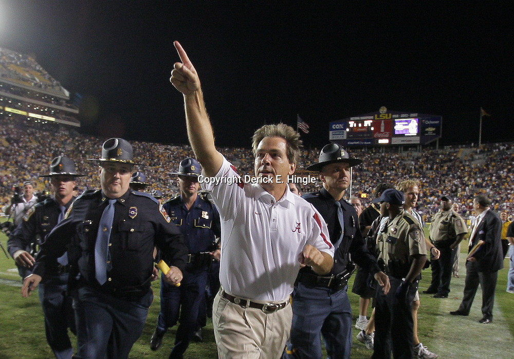 08 November 2008 Former LSU head coach and current Alabama head coach Nick Saban on the sideline during the Alabama Crimson Tide SEC West game against the LSU Tigers at Tiger Stadium in Baton Rouge, LA.