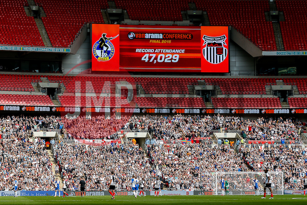 A Vanamara Cionference play off final record attence of 47,029 is announced on the big screen - Photo mandatory by-line: Rogan Thomson/JMP - 07966 386802 - 17/05/2015 - SPORT - FOOTBALL - London, England - Wembley Stadium - Bristol Rovers v Frimsby Town - Vanarama Conference Premier Play-off Final.