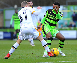 Reece Brown of Forest Green Rovers competes with Ben Whitfield of Port Vale- Mandatory by-line: Nizaam Jones/JMP- 06/01/2018 - FOOTBALL - New Lawn Stadium- Nailsworth, England- Forest Green Rovers v Port Vale - Sky Bet League Two