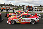 Scott McLaughlin (Shell DJR Penske Ford) with 2nd place finisher Fabian Coulthard and 3rd place Jamie Whincup. Winton Truck Assist SuperSprint -2019 Virgin Australia Supercars Championship Round 6. Winton Motor Raceway, Victoria on Sunday 26 May 2019. Photo Clay Cross / photosport.nz